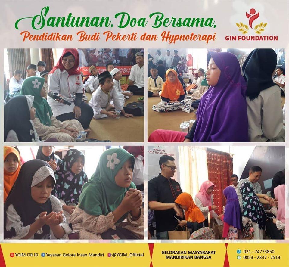 Event Santunan dan Doa Bersama dengan tema Pendidikan Budi Pekerti dan Hypnoterapi